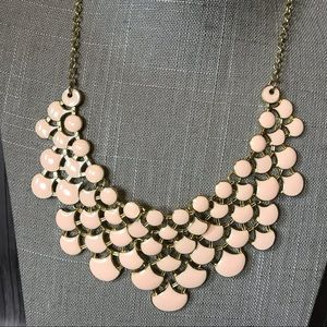 Jewelry - Pale pink enamel statement necklace in gold tone
